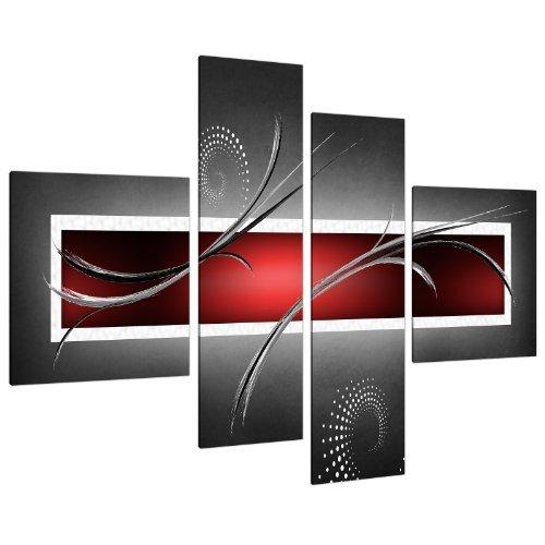 Wallfillers Impression sur Toile - Abstrait Rouge, Noir et Gris - 4 Parties Canvas 4091