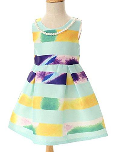 Kidscool Little Girls Sleeveless Striped Ball Gown Fall Pearl Necklace Dress