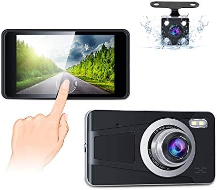 Dual Dash Cam 4 Touch Screen Full HD 1080P Car Driving Recorder with Backup Camera Night Vision 170 Wide Angle,G-Sensor,Loop Recording,Parking Monitor and Motion Detection Accfly