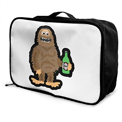 Bigfoot Drinking Beer Lightweight Large Capacity Portable Luggage Bag Fashion Travel Duffel Bag