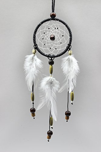 Bistore - Handmade Dreamcatcher, 2.7'' Diameter, Good for Car, Wall Hanging Ornament, and Gift (2.7'' hoop - 12'' in length, Black) by Bistore