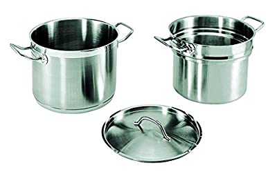Update International (SDB-16) 16 Qt Induction Ready Stainless Steel Double Boiler w/Cover