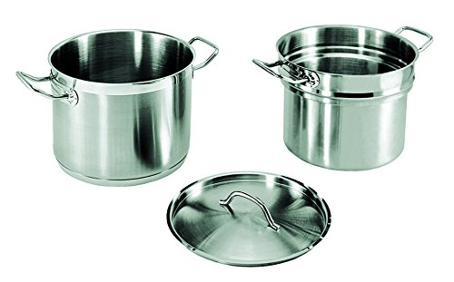 Large Double Boiler - Update International (SDB-08) 8 Qt Induction Ready Stainless Steel Double Boiler w/Cover