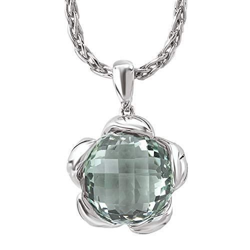 925 Sterling Silver Flower Pendant with Checkerboard-Cut Green Amethyst ()