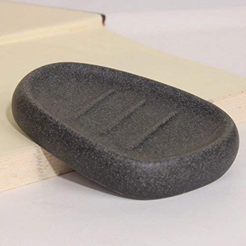 Andre Home Seifenschale Seifenkiste Seifenschale Seife Container-Pebble Black Nützliches Harz Handgemachte Seifenschale