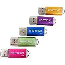 5pcs 8GB U-Disk USB Flash Drive 8GB USB 2.0Flash Memory Stick (Cinco colores mixtos: Azul Púrpura Rosa Verde Y Dorado)