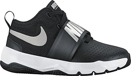 NIKE Boy's Team Hustle D 8 (PS) Pre School Basketball Shoe Black/Metallic Silver/White Size 2 M US