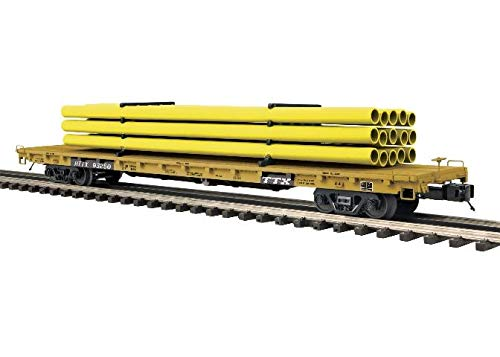 MTH TRAINS; MIKES TRAIN HOUSE TTX 60' Flat W/Yellow PIPELOAD