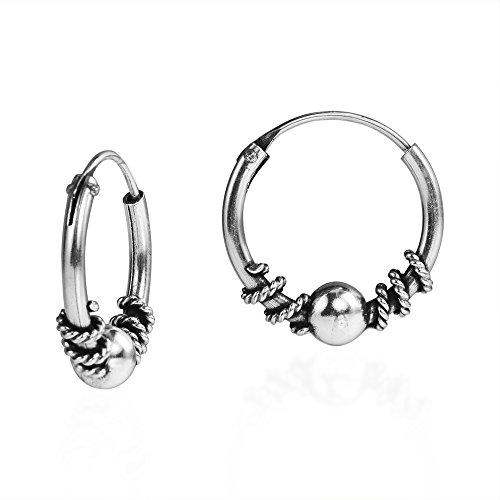 Twist Bali Bead 14 mm Sterling Silver Hoop (Sterling Shiny Twist Bead)