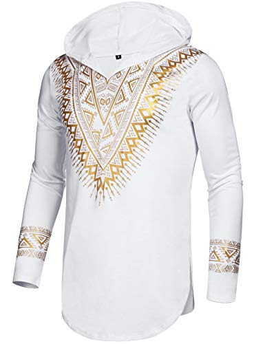 (Pacinoble Mens African Dashiki Shirt Luxury Metallic Floral Printed Long Sleeve Shirts Blouse)