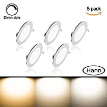 [5 Pack] Round Ceiling Light,Hann® Ultra-thin Recessed Downlight Lamp,LED Bathroom Bedroom Lighting Fixtures 18W 1440lm,Cold White 5000K,120W Incandescent Equivalent,Cut Hole 8.1 Inch,AC100-120V,with LED Driver
