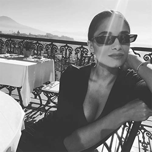 Lunettes Petit Cadre Noir Vintage Rétro Narrow Multi Soleil Kissherely Rectangle Femmes Color De 1Btwtq