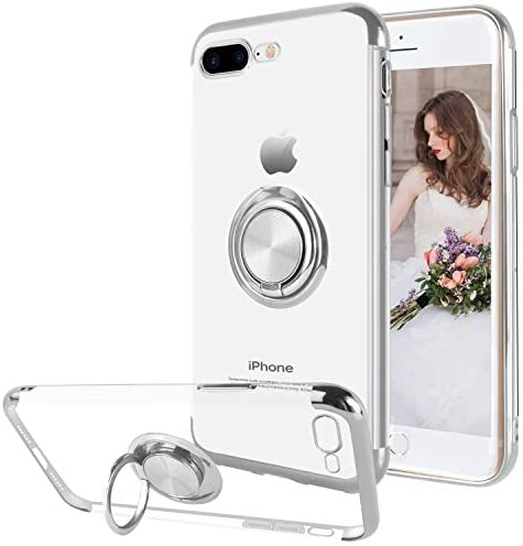16Jessie Case Compatible with iPhone 8 Plus,Clear Slim TPU Bumper Magnetic Car Mount Case with 360° Ring Kickstand for Apple iPhone 7 Plus (Silver, iPhone 8 Plus)