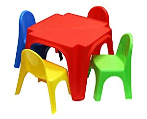 childrens plastic table and 4 chairs set office products. Black Bedroom Furniture Sets. Home Design Ideas
