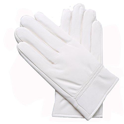 Yosang Men's Soft Genuine Lambskin Leather Winter Warm Policeman Hunting White L Gloves