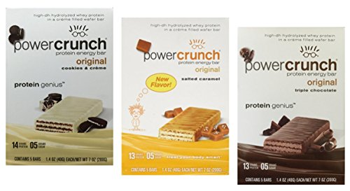 Power Crunch Protein Energy Bar Variety Pack, 15 bars – 1.4oz 40g bars, Triple Chocolate Salted Caramel Cookies Creme