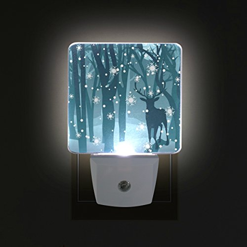 2 PC Plug-in LED Night Lights with Christmas Deer Forest Snowflake Night Nightlights with Dusk to Dawn Sensor White Light Perfect for Bathroom Kitchen and Hallway Set ()