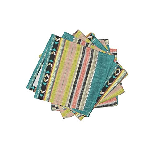Roostery Tribal Home Decor Organic Cotton Sateen Cloth Cocktail Napkins Stripe Citron Stripe Joan Southwest Teal Peach Chartreuse by Joanmclemore Set of 4: 10 x 10in