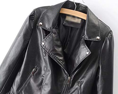 Nero Vintage Donna Lunga Finta Ecopelle Manica Cappotti Giubbotto Pelle Giacche Motociclista PPwn47xvq