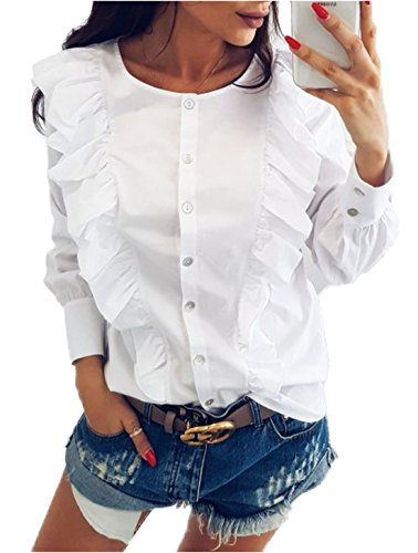 Fashion Blanc Blouses Col Manches JackenLOVE Volant avec Femmes Tops Shirts Casual Bouton Rond Haut Chemisiers Longues ngzqxIZF