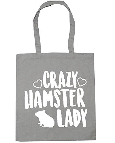 HippoWarehouse Crazy hamster lady Tote Shopping Gym Beach Bag 42cm x38cm, 10 litres Light Grey