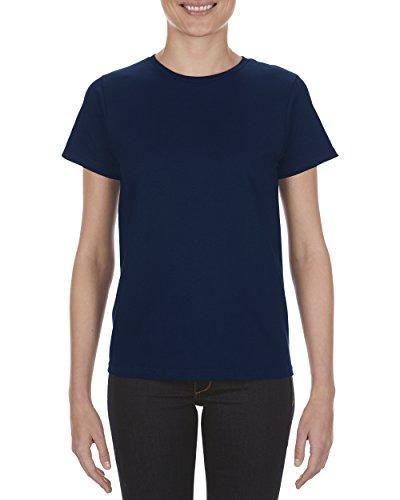 Alstyle Apparel AAA Women's Missy Premium Soft Spun T-Shirt, Navy, (Rib Side Box)