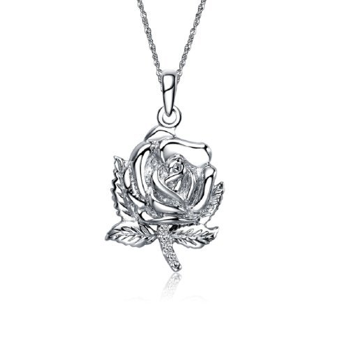 Omega Phi Alpha Rose Silver Necklace with a 18 Silver Chain (OPA-M010) by Greek Star