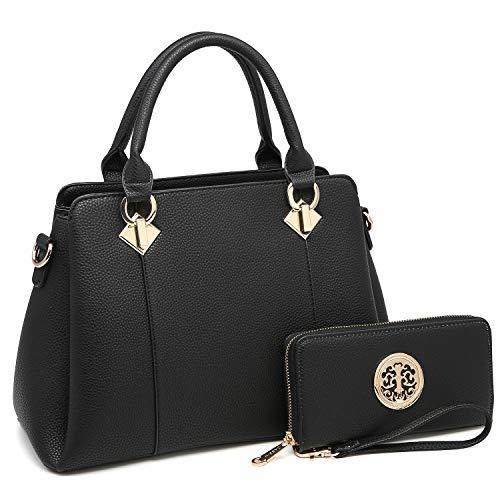 MK Belted collection Fashion Hobo Handbag for Women~2 PCS Women's Tote Bag Satchel Handbag Shoulder Bags W coin purse (8013-Black/Black) (Hobo Belted Handbag)