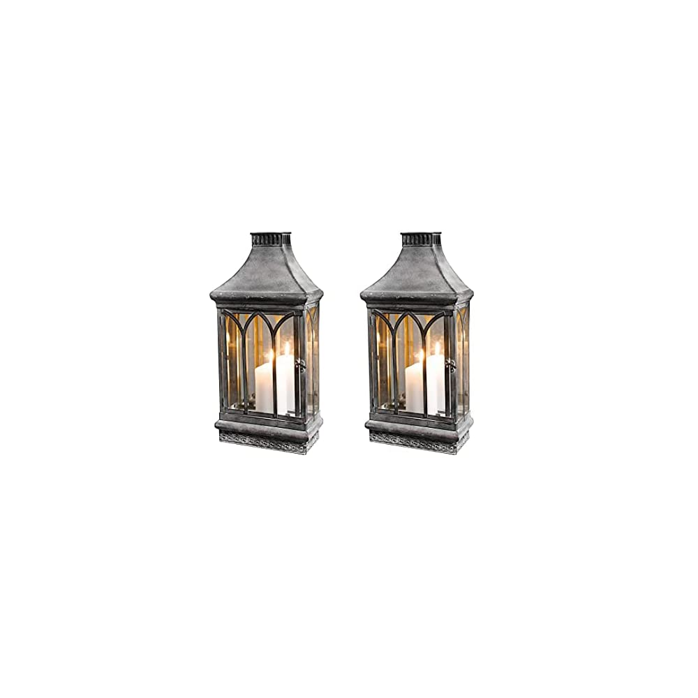 Wall Sconce Candle Holder Lantern Farmhouse Metal Decor w/ Mirror Outdoor Indoor, Clear Glass
