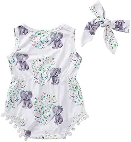 55e0a4aed Cuekondy Newborn Baby Girls Cute Elephant Stars Floral Print Tassel Romper  Bodysuit+Headband Summer Outfits