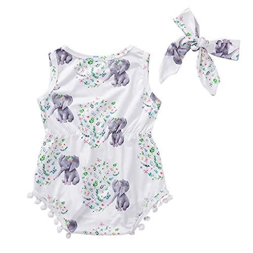 WOCACHI Unisex Baby Romper, Newborn Infant Baby Girls Floral Print Pompon Tassel Headband Romper Bodysuits
