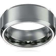 8Mm Tungsten Carbide Beveled Comfort Fit Brushed Center Unisex Wedding Band Ring