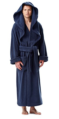 Arus Men s Monk Robe Style Full Length Long Hooded Turkish Terry Cloth  Bathrobe e85d63695
