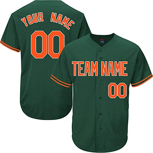 Hunter Green Custom Baseball Jersey for Men Women Youth Full Button Embroidered Team Name & Numbers S-5XL Orange White]()
