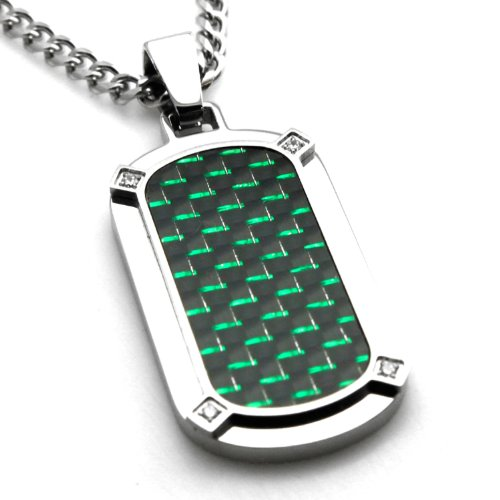 - Tioneer Stainless Steel Black & Green Carbon Fiber Dog Tag Pendant w/Four CZ