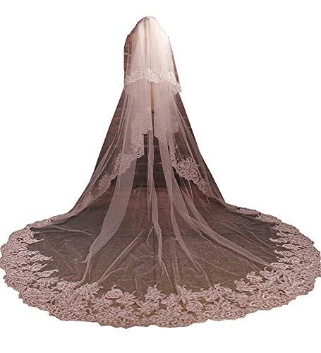 不幸城オペレーターeverydress ウエディングベール ロングベール 花嫁ベール アップリケ ブライダルベール 結婚式 コーム付き 二層 レース