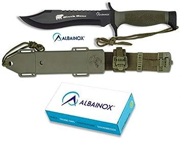 Albainox - 31766 - Cuchillo ALBAINOX Supervivencia.C/Funda. 18 cm - Herramienta para Caza, Pesca, Camping, Outdoor, Supervivencia y Bushcraft