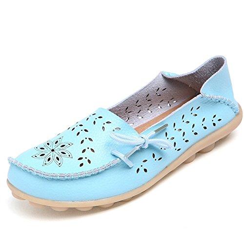 Leanna Dames Oversize 4-12 Holle Snit Casual Leder Rijden Platte Loafers Schoenen Met Strik Hemelsblauw