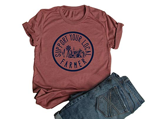 JEYMMI Womens Graphic Tee Schrute Farm Shirt Short Sleeve Solid Color Printed Summer Vacation Shirts Graphic Tees (M, Z-Heather Clay)