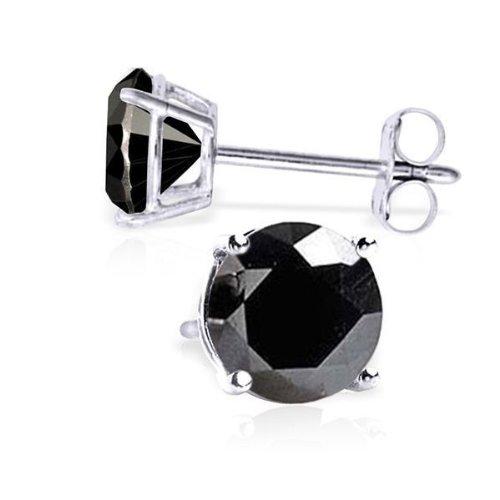 14K Yellow Gold Round Black Diamond Stud Earrings 2.00 Ct. Tw. Screw - Solitaire Earrings Diamond 14k