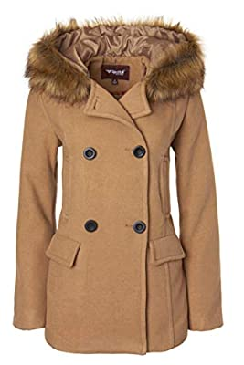 Sportoli Women's Winter Wool Look Double Breasted Pea Coat Jacket Fur Trim Hood