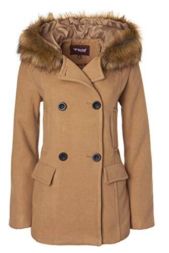 Sportoli Women's Winter Wool Look Double Breasted Pea Coat Jacket Fur Trim Hood - New Perfect Camel (Size Large)