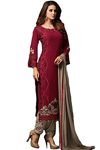 Indian/Pakistani Ethnic wear Georgette Straight Salwar Kameez (Red, L-42)