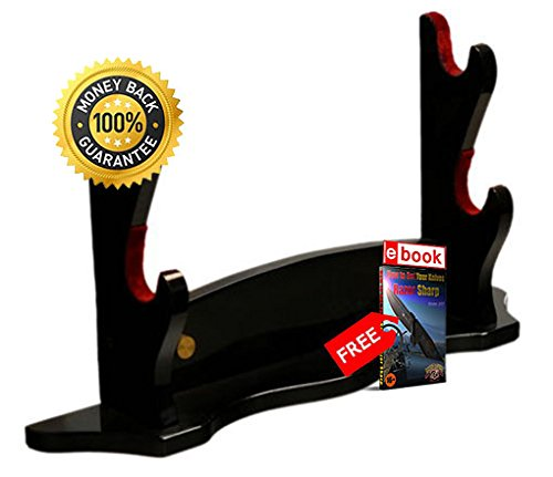 NEW 18'' Piano Black Double Samurai Sword Stand PRIME sharp strong blade eBOOK by MOON KNIVES