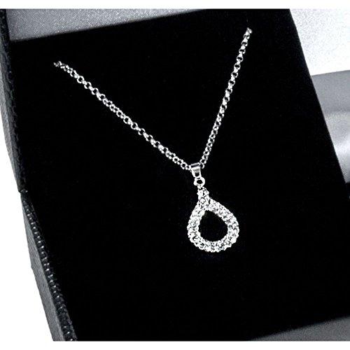 Miabelle - MB1046G - Collier avec Pendentif Femme - Goutte - Argent 925/1000 3.25 gr - Laiton Plaqué Rhodium - Diamant 0.01 cts - 50 cm