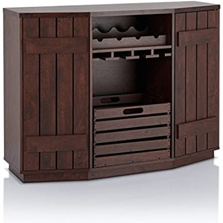 Furniture Of America Harla Rustic Vintage Walnut Server With Removable Crate