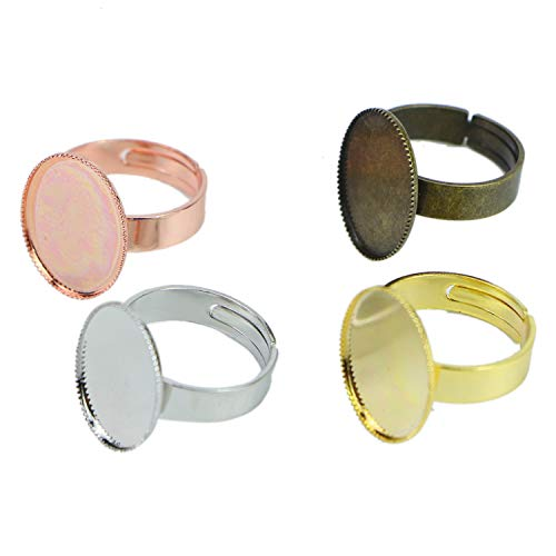 Monrocco 20 pcs Oval Shape Adjustable Ring Blanks Cabochon Rings Settings ()