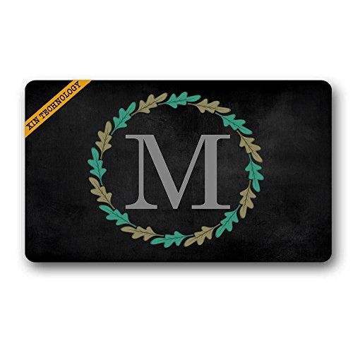 (Artsbaba Personalized Monogrammed Doormat Leaf Ring Letter Monogram Non-Slip Doormat Non-Woven Fabric Floor Mat Indoor Entrance Rug Decor Mat 30