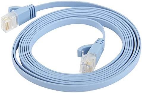 2m Length Baby Blue ZYS CAT6 Ultra-Thin Flat Ethernet Network LAN Cable