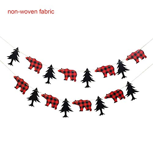 (NIUBANG Lumberjack Theme Banner Plaid Garland Party Supplies Black Red for Kid Birthday & Baby Shower Party Decoration)